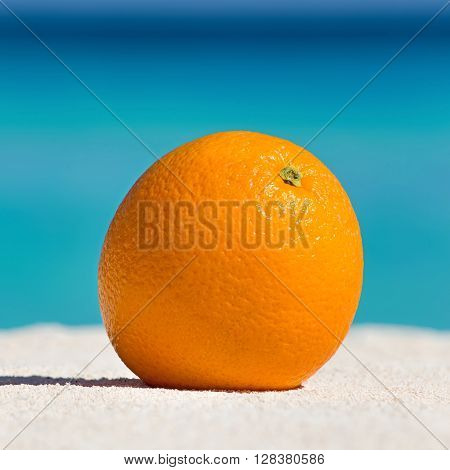Orange Fruit On Sand Against Turquoise Caribbean Sea Water