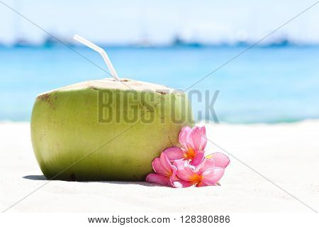 Tropical Fresh Cocktail On White Beach