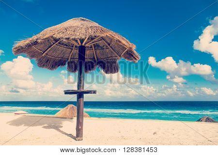 Sun Umbrella On Beautiful Beach