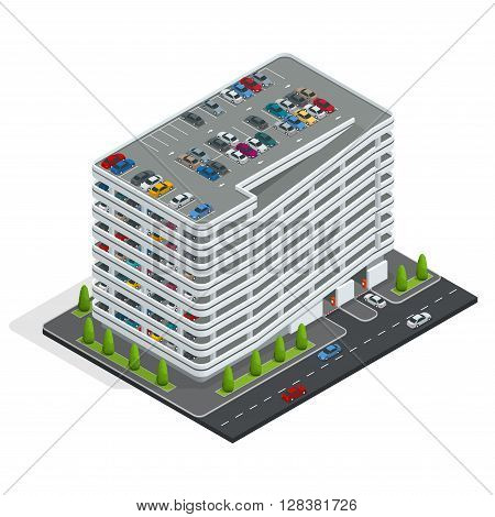 Multi-story car park. Isometric city car park. Urban car parking service. Isometric flat 3d vector illustration