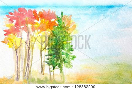 hand painted watercolor landscape with autumn trees