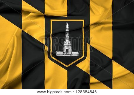 Waving Flag of Baltimore Maryland. Satin background