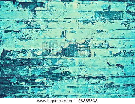 detail of a blue cyan brickwall, background