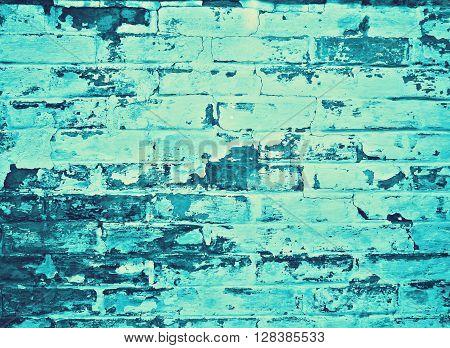 detail of a blue cyan brickwall, background