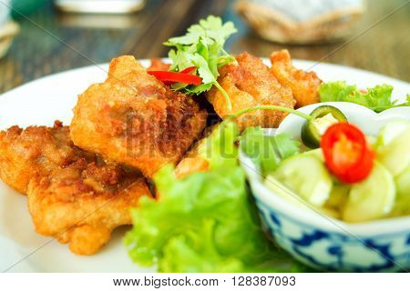 Fried Bread with Minced Pork Spread or Kanom Pang Na Moo : Thai food