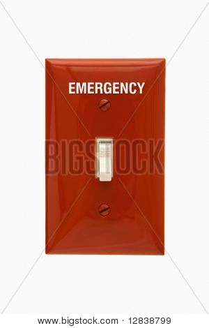 Red emergency switchplate with switch in off position.