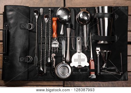 Set of barman equipment in black case