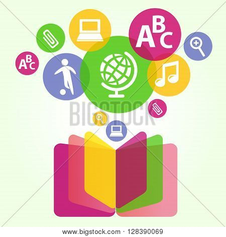Book sign. Book symbol. Vector illustration of open book and education icons. The concept of modern education and science. Handbook textbook