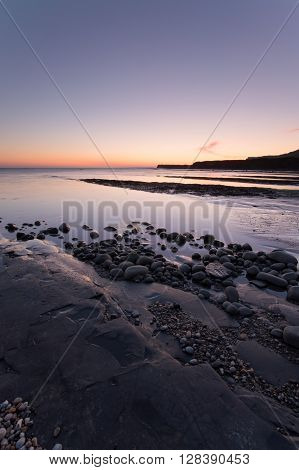 Kimmeridge Bay at Sunset , on the dorset coast, England, UK
