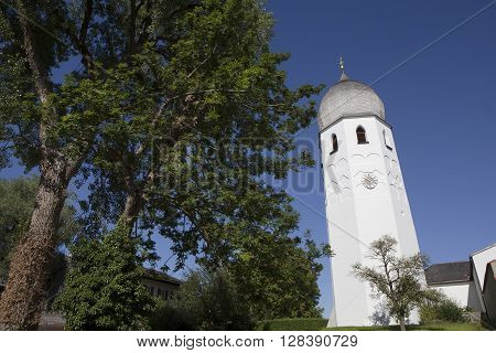 Prien am Chiemsee, Germany, August 3. 2015: Dome of Benedictine monastery Frauenchiemsee in Bavaria Germany in summertime