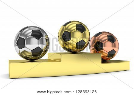 Three gloss soccer balls on golden pedestal. 3D rendering.