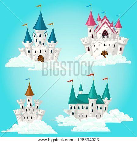 Collection of vector cartoon fairytale castles on the sky
