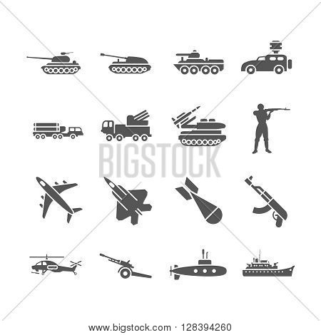 Army, military vector icons set. Military weapon, military rocket, military transport illustration
