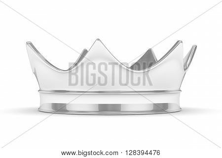 Silver royal simple crown on white. 3D rendering.