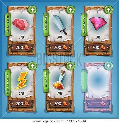 Illustration of funny cartoon design wood panel with playing resources icons food weapon magic potion diamond and buying credits price for game ui app on tablet pc on blue sky
