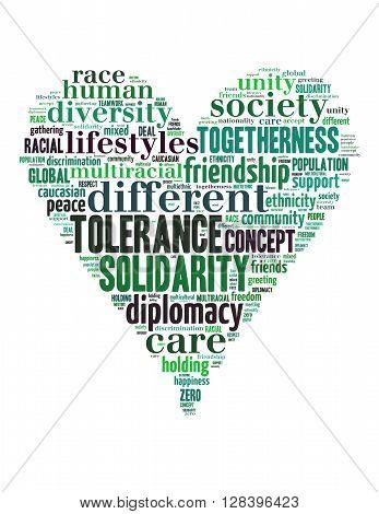 Tolerance Heart Word Cloud 2