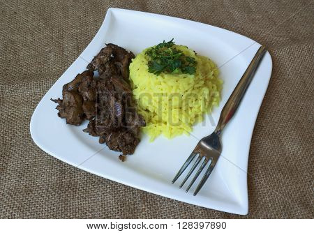 Chicken Livers Rice With Curry