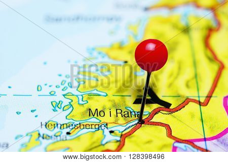 Mo i Rana pinned on a map of Norway
