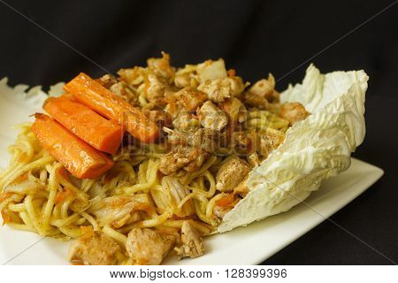 Chinese Noodle Chicken Meat With Vegetables Detail