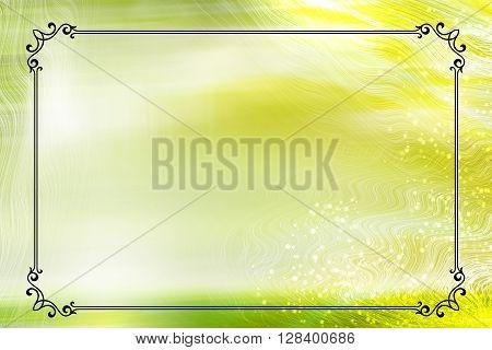 Spring or summer green vintage frame design