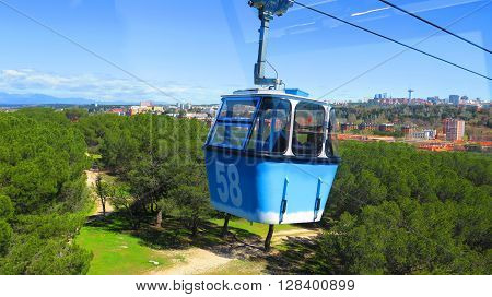 Cable cars over the Casa de Campo park in Madrid