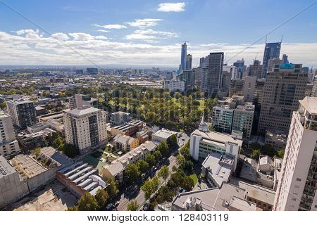 MELBOURNE, AUSTRALIA - APRIL, 2016 : Bird view of Melbourne city with Flagstaff Gardens locating in the middle in Melbourne, Australia on April 9, 2016.