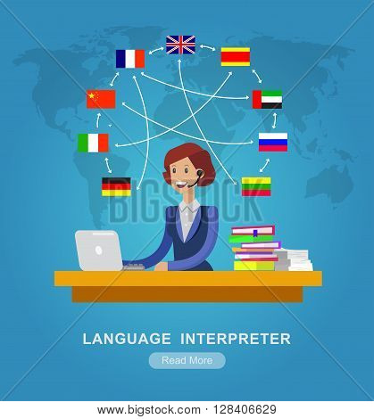 Vector detailed character Language translator concept with woman sitting on table with laptop and world map with flags of the world languages, cool flat  illustration