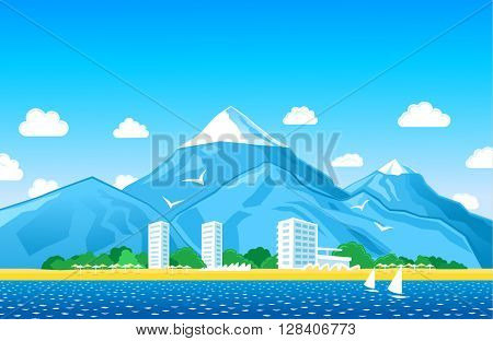 Tropical Coastline, hotels, mountains at the background