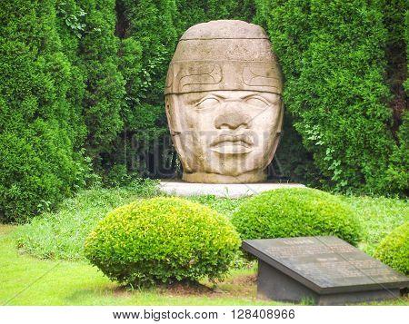 Head Of A Buddah At Temple In Thailand Ayuttaya