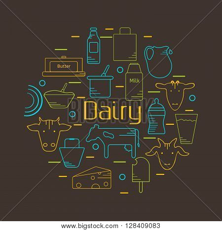 Dairy colorful line icons set in circle shape. Design concept for festive banner advertisement and butchery logo. Vector illustration. Icons for web mobile and print. Dark background.