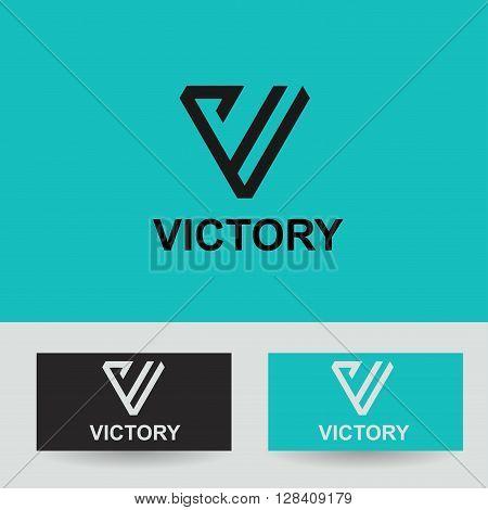 Business Icon - Vector logo concept victory template. Abstract emblem for letter V, VV, VVV,