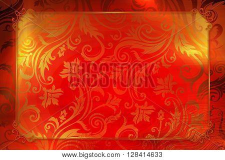 Red elegant Vintage frame design or copy space