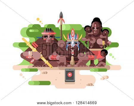Aboriginal tribe and a smartphone. People savage in jungle with innovation technology. Vector illustration