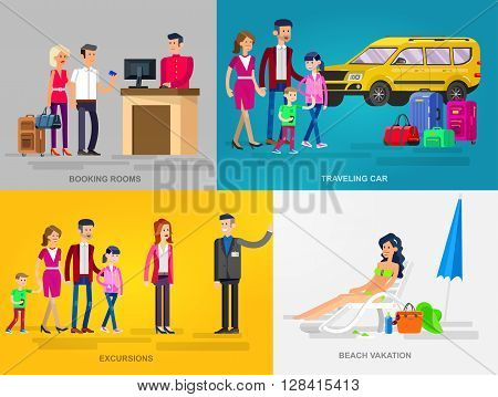 Vector detailed character people in action for travel. Family summer holiday travel on car, Booking rooms in hotel, tour guide excursion , woman relaxing on a beach