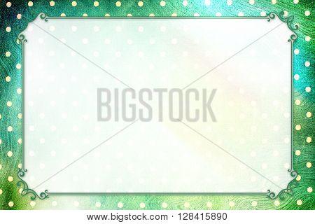 Green Dotty Vintage elegant frame design concept