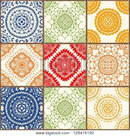 Glazed ceramic tiles set. Colorful vintage tiles with floral and geometrical patterns Spanish Italian Portuguese and oriental motifs.