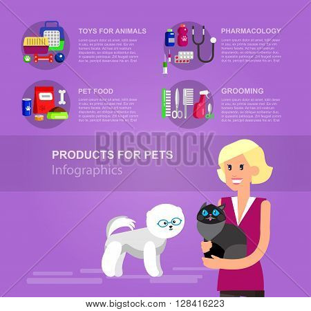 Infographic product for pets, high quality character design veterinarian with cat, pet shop. Pets accessories and vet store, grooming tools, veterinary pharmacy