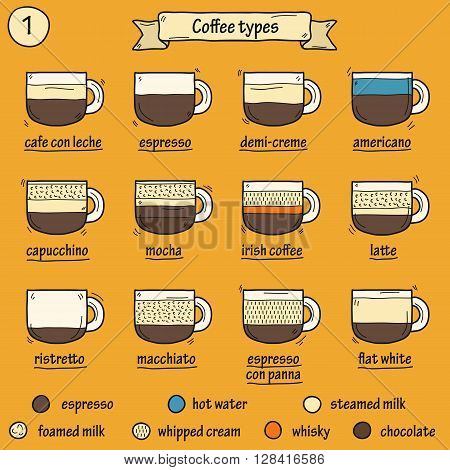 Cartoon illustration with different coffee types: espresso latte coffee with milk chocolate coffee. Coffee house restaurant cafe menu coffee shop cartoon concept. Preparation hot coffee beverage