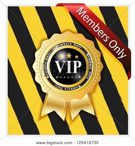 vip warning sign with stipe yellow and black background
