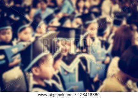 Blurred Children Getting Ready For Their Graduation.