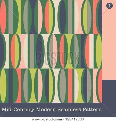 seamless mid century modern vector pattern