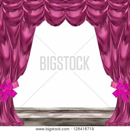 Velvet folded drapery with pink bows and wooden planks in natural colors