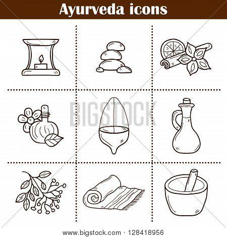 Cartoon hand drawn illustration with ayurveda icons. Healthcare ayurveda treatment concept. Cartoon objects on ayurveda medicine theme. Alternative medicine. Spa center aromatherapy relaxation