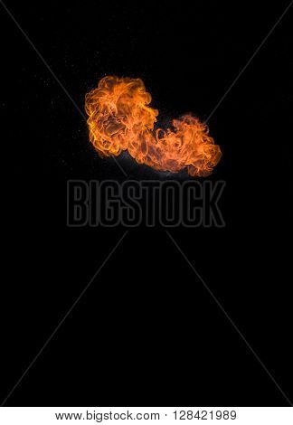 Strong, large and very hot fire, real photos of fire.