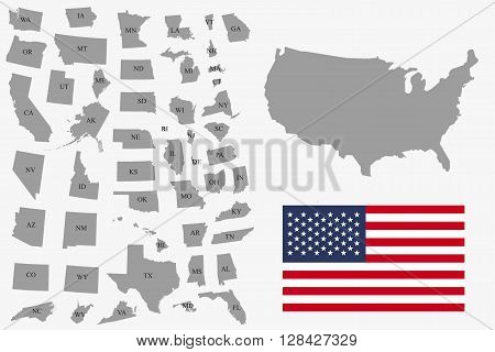 Set of gray USA states on white background - vector illustration. Simple flat map - United States. USA flag general map and all states individually.