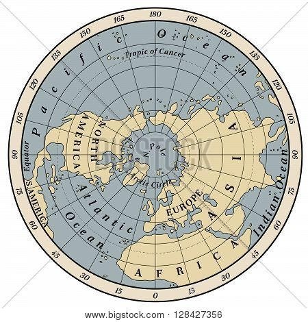 Northern Hemisphere detailed illustration on white background.