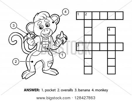 Vector Colorless Crossword. Little Monkey And Bananas
