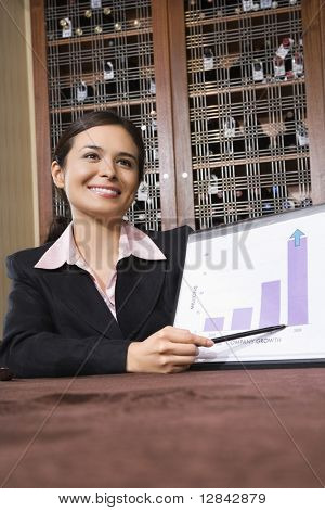 Pretty businesswoman smiling and pointing to bar graph.