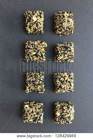 Nutritious sweet bars made with black and white seasame seeds. Til chikki.