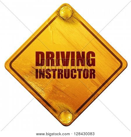 driving instructor, 3D rendering, isolated grunge yellow road si